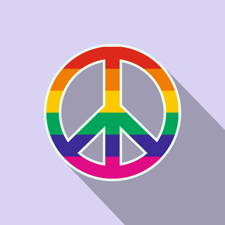 Peace symbol rainbow flat icon