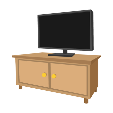 Wooden TV cabinet with a large TV cartoon icon Archivio Fotografico - 107496888