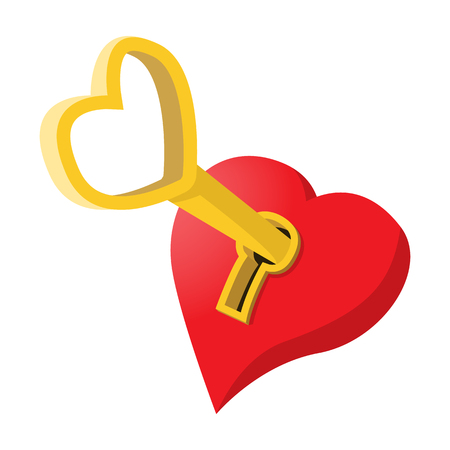Heart-shaped padlock with key cartoon icon Banco de Imagens