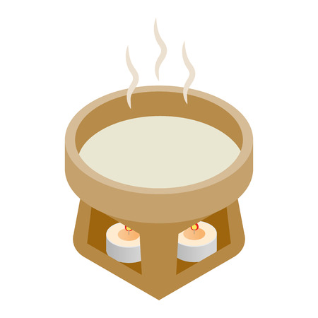 Cup water heated candles 3d isometric icon