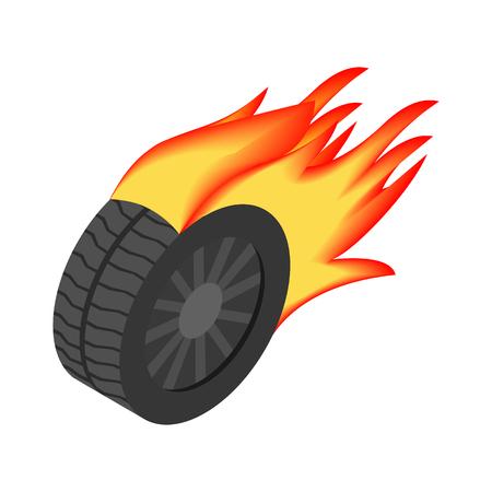 Burning wheel isometric 3d icon Stock Photo