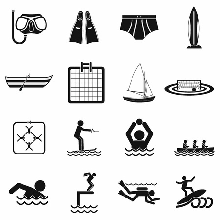 Water sport black simple icons