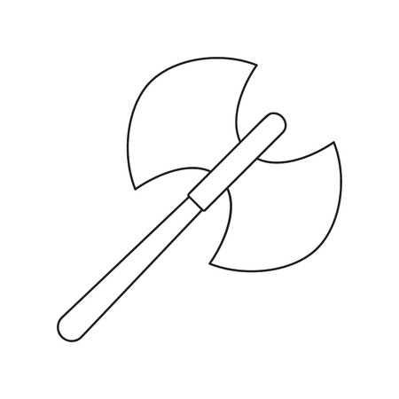 Ancient battle double axe thin line icon