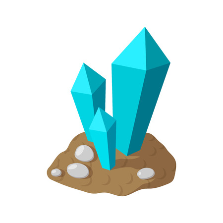 Crystals in earth cartoon icon