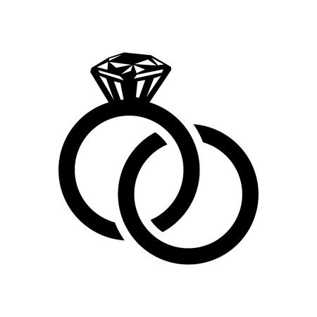 Wedding rings simple icon