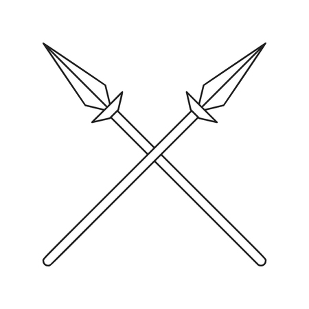 Two crossed spears thin line icon