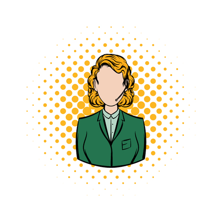 Woman in a green blazer with headset comics icon on a white background Stok Fotoğraf