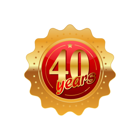 40 years anniversary golden label on a white background Фото со стока