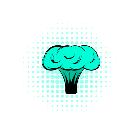 Explosion of nuclear bomb comics icon on a white background Stock Photo