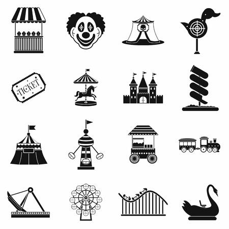 Amusement park black simple icons set isolated on white background Stock Photo
