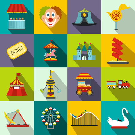 Amusement park flat icons set for web and mobile devices