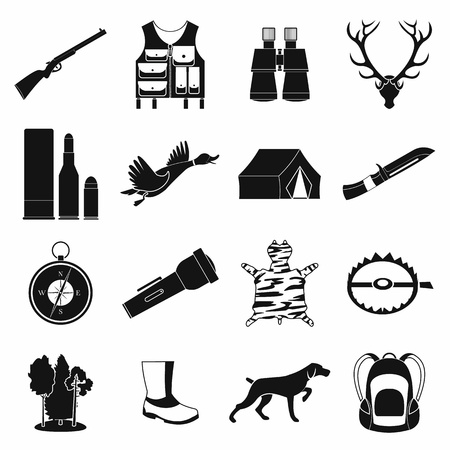 Hunting black simple icons set for web and mobile devices