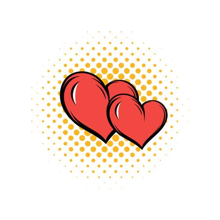 Two hearts comics icon isolated on a white background Foto de archivo