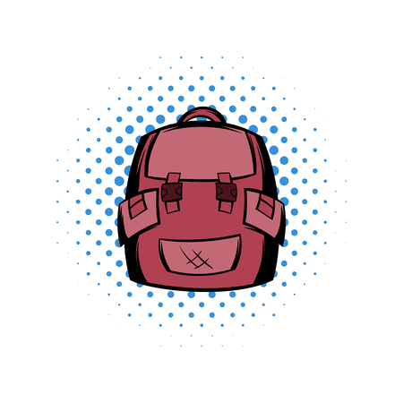 Backpack school comics icon. Pink symbol on white background Stock Photo