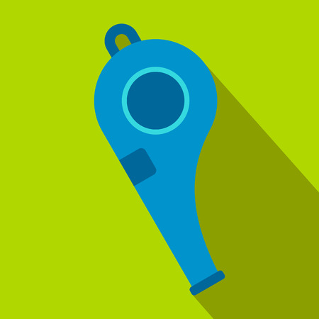 Blue sport whistle flat icon on a green background