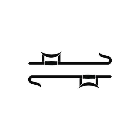 Ninja weapon black simple icon isolated on white background
