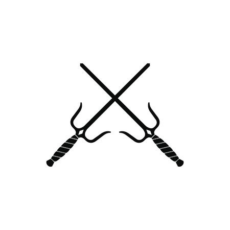 Sai weapon black simple icon isolated on white background 写真素材