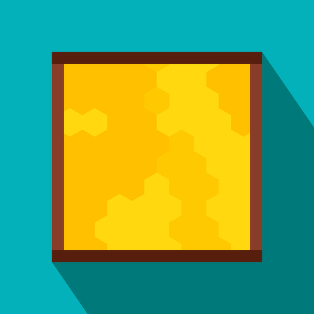 Frame with honecombs flat icon. Colored symbol on a blue background with shadow