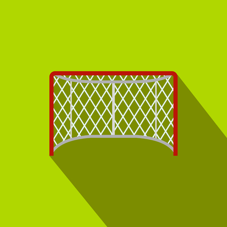 Hockey gates flat icon. Illustration of goal with shadow on green background