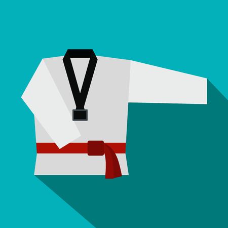 Kimono and martial arts red belt flat icon on a blue background