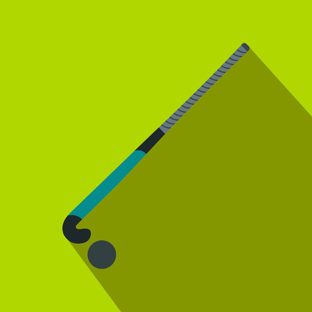 Stick for field hockey and ball flat icon on a green background Stock Photo