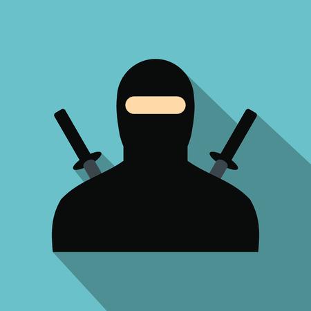 Ninja flat icon on a blue background Stockfoto