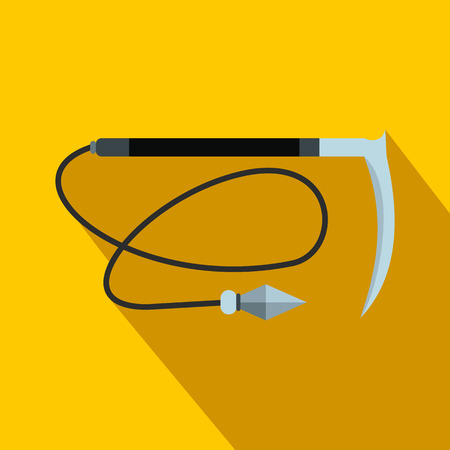 Kama weapon with rope flat icon on a yellow background Stock Photo