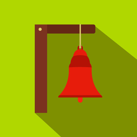 Alarm bell flat icon on a green background