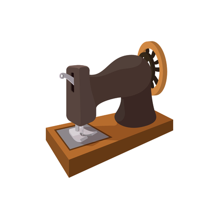 Black old sewing machine cartoon icon on a white background