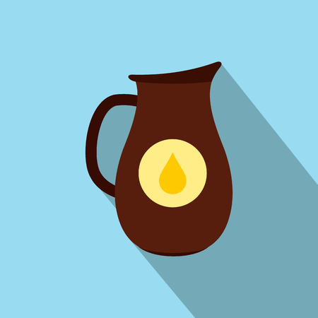Honey crock with drop of honey. Flat style illustration on a blue background Stock Photo