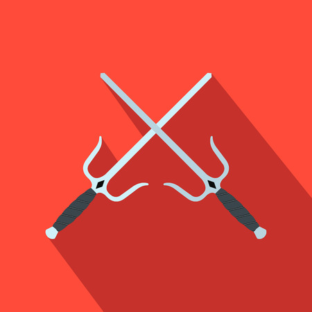 Sai weapon flat icon on a red background 写真素材