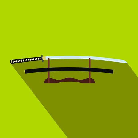 Katana on a wooden stand flat icon on a green background
