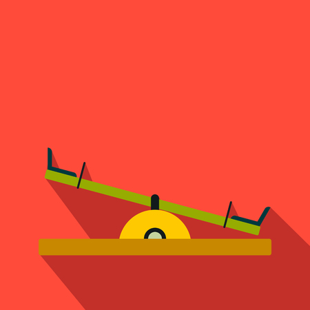 Seesaw flat icon on a red background