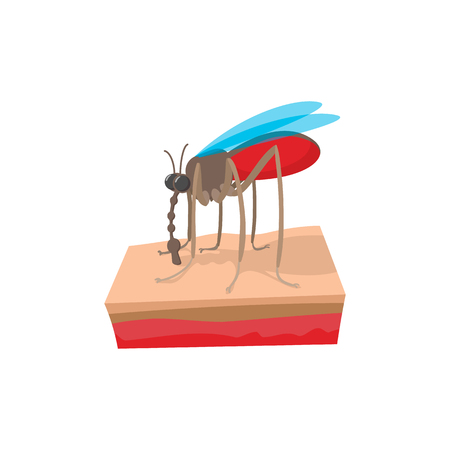 Mosquito on the skin cartoon icon on a white background 스톡 콘텐츠