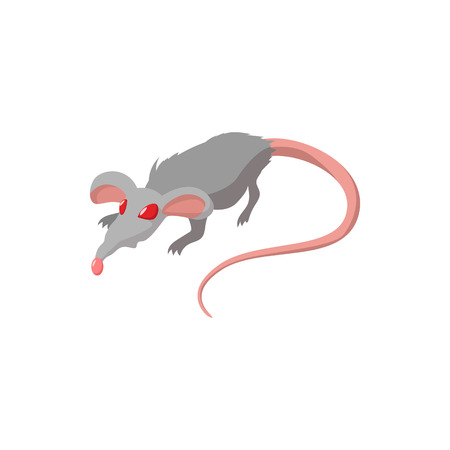 Rat with red eyes cartoon icon on a white background