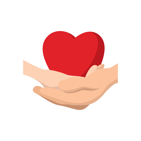 Heart in hands cartoon icon Stock Photo