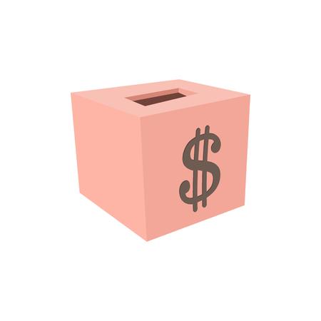 Money box donation cartoon icon