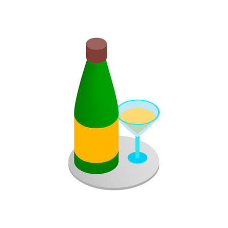 Champagne and glass 3d isometric icon Stok Fotoğraf - 107552857