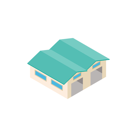 Airplane hangar isometric 3d icon Stock Photo