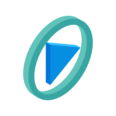 Blue round play button isometric 3d icon Stock Photo