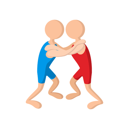 Wrestlers cartoon icon on a white background