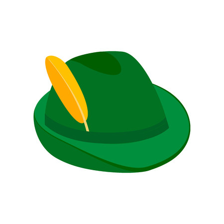 Green hat with a feather isometric 3d icon