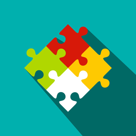 Colorful puzzle flat icon on a blue background 写真素材
