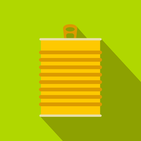 Tin can flat icon on a green background