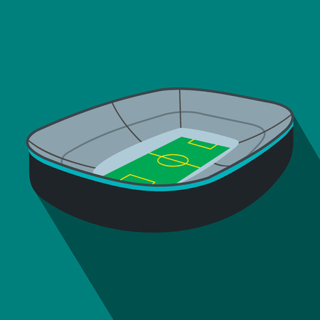 Oval footbal stadium flat icon. Oval stadium with fan stand