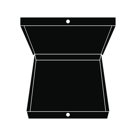 Open pizza box black simple icon isolated on white background 스톡 콘텐츠