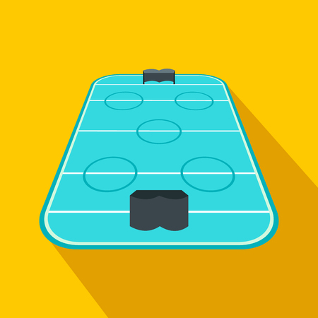 Ice hockey rink flat icon. Game symbol with shadow on a yellow background