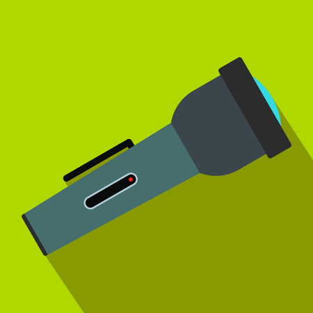 Flashlight flat icon on a green background