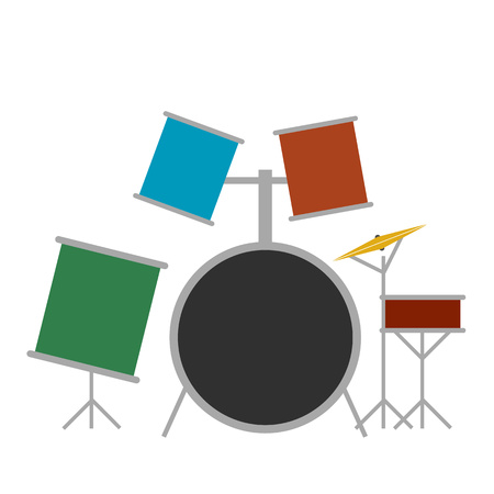 Drum set flat icon isolated on white background