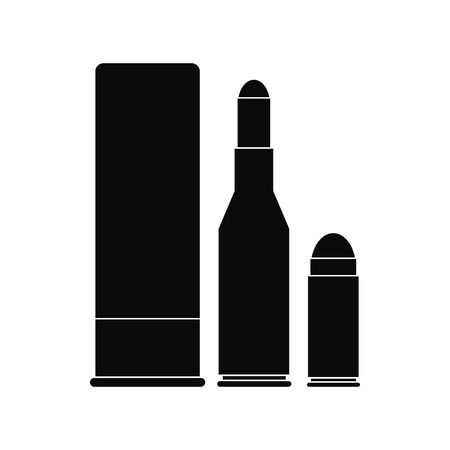 Shotgun shell and bullets black simple icon isolated on white background